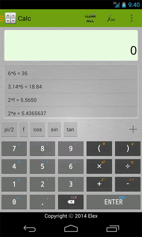 Screenshot of Calc