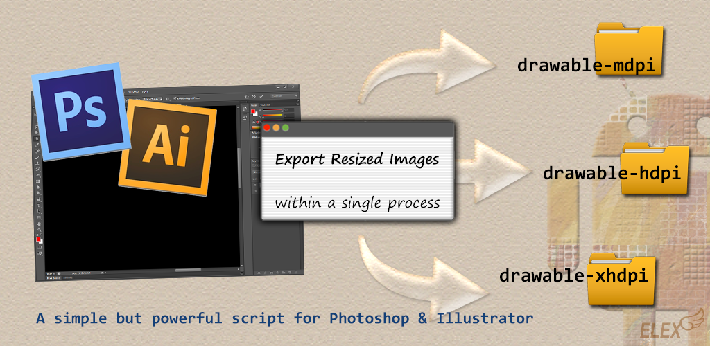 Multiple Density Export : A Photoshop/Illustrator script for Android app dev.